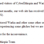 Attacks on CyberEthiopia.com