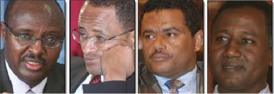 Sufian Ahmed (Minister of Finance), Teklewold Atnafu (Governor of the National Bank), Bekele Feleke (President of the Commercial Bank of Ethiopia), Issayas Bahre (President of Development Bank of Ethiopia). Photo: Addis Fortune